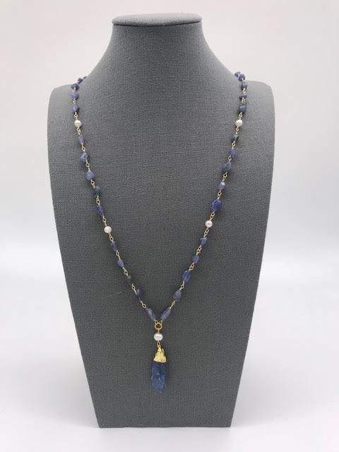 Blue Sodalite Necklace in Gold