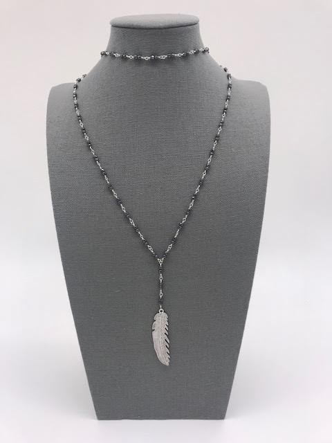 Black Seed Bead with Feather Pendant and a Choker