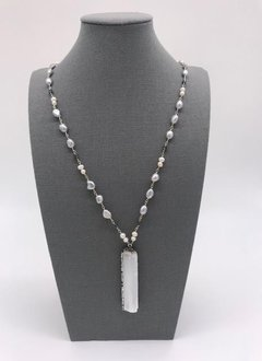 White and Gray Pearl Necklace with a Crystal Rock Pendant