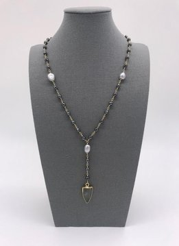 Labradorite, Gray Pearl, and Hematite Arrow Head Necklace