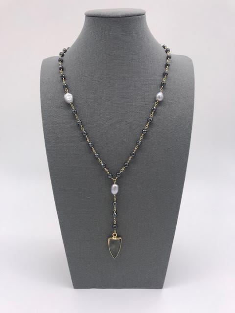 Labradorite, Gray Pearl, and Hematite Arrow Head Necklace