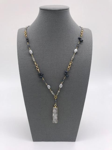 Gray and Black Pearl with a White Druzy Pendant in Gold Plating