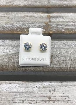 Sterling Silver Yellow Gold Plated Cubic Zirconia Stud 6mm Earring