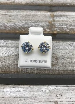Sterling Silver Yellow Gold Plated Cubic Zirconia Stud 8mm Earrings