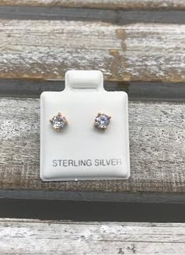 Sterling Silver Rose Gold Plated Cubic Zirconia 4mm Stud