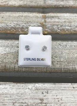 Sterling Silver Cubic Zirconia Stud 3mm Earring