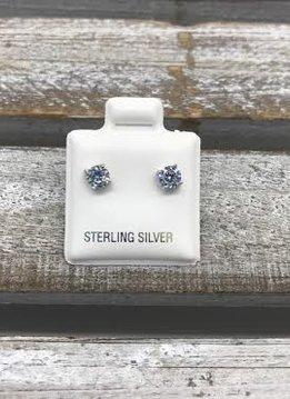 Sterling Silver Cubic Zirconia 4mm Stud Earrings