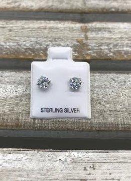 Sterling Silver Cubic Zirconia 5mm Stud Earrings