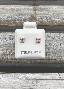 Sterling Silver Rose Gold Plated Square Cubic Zirconia 3mm Stud Earrings