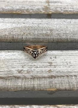 Sterling Silver Rose Gold Plated Filigree Chevron Ring