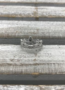 Sterling Silver and Cubic Zirconia Crown Ring