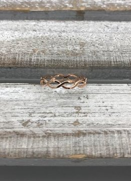 Sterling Silver Rose Gold Plated Open Infinity Ring