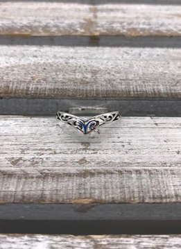 Sterling Silver Plated Filigree Chevron Ring