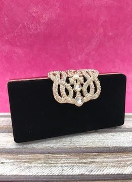 Small Black Velvet Clutch with Rhinestones