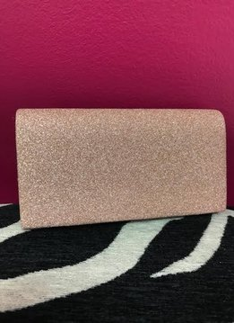 Shimmery Rose Gold Party Clutch with Chain
