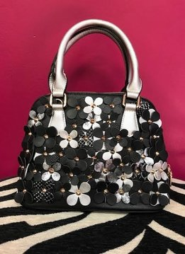 Black and Silver Flower Handbag