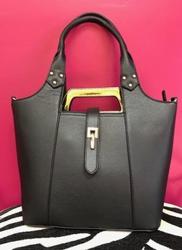 Black Vegan Leather Purse with Long Strap