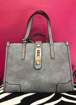Grey Stud and Lock Purse with Wallet Set