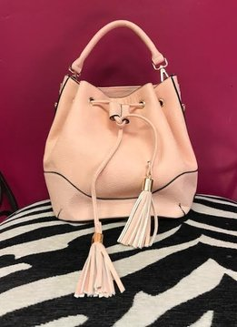 Blush Drawstring Bucket Shoulder Bag with Wallet
