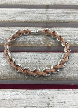 Italian Sterling Silver and Rose Gold Braided Magnetic Bracelet