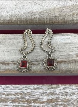 Italian Sterling Silver Unique Deco Dangle Earring with Square Garnet