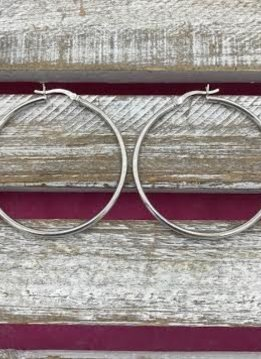 Italian Sterling Silver Simple Extra Large Hoop Earring