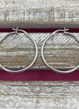 Italian Sterling Silver Simple Large Hoop Earring
