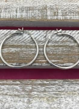 Italian Sterling Silver Simple Medium Hoop Earrings