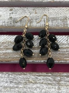 Gold and Black Bead Dangling Earrings
