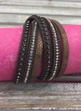 Brown Wrap Bracelet with Clear Rhinestones