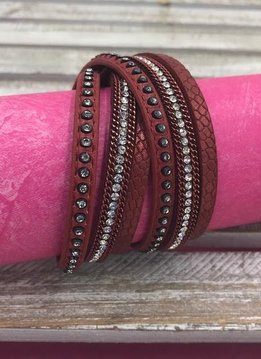 Red Wrap Bracelet with Clear Rhinestones