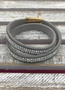 Gray and Clear Rhinestone Wrap Bracelet with Gold Magnetic Closure