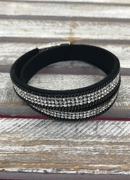 Black and Clear Rhinestone Wrap Bracelet with Silver Magnetic Closure