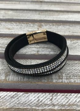 Black and Clear Rhinestone Wrap Bracelet with Gold Magnetic Closure