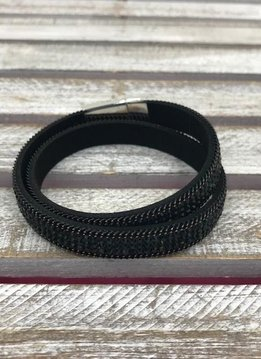 Black and Black Rhinestone Wrap Bracelet with Silver Magnetic Closure