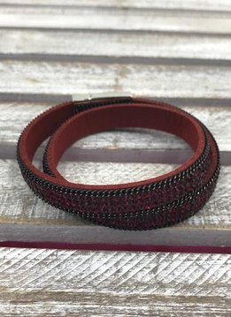 Red and Red Rhinestone Wrap Bracelet with Silver Magnetic Closure