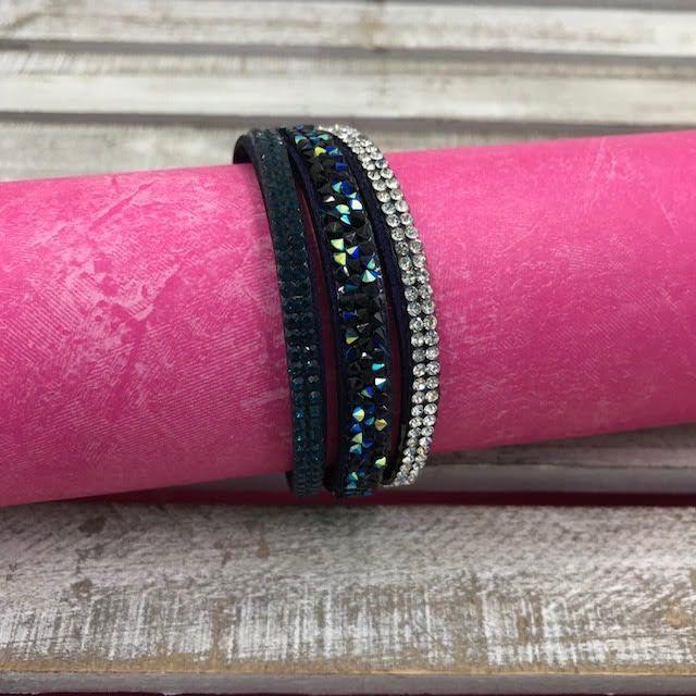 Navy Blue Bracelet with Rhinestones