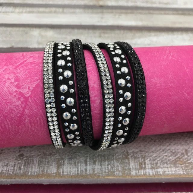 Black Wrap Bracelet with Silver Rhinestones