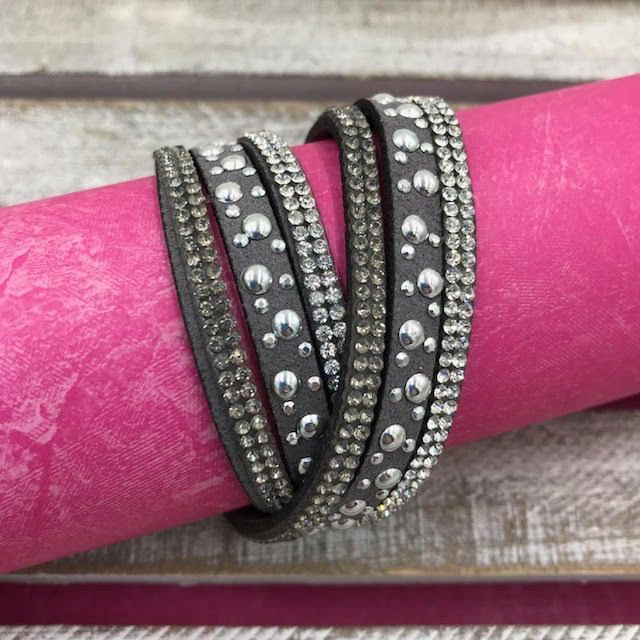 Gray Wrap Bracelet with Silver Rhinestones