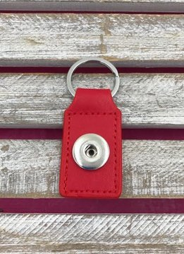Red Leather Snap Rectangle Keychain