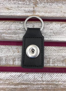 Black Leather Snap Rectangle Keychain