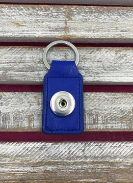 Blue Leather Snap Rectangle Keychain