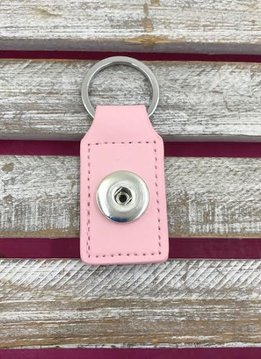 Pink Leather Snap Rectangle Keychain