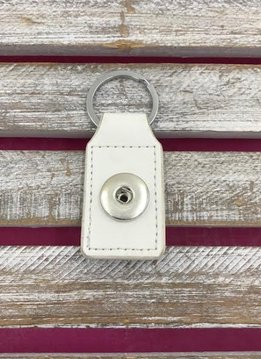 White Leather Snap Rectangle Keychain