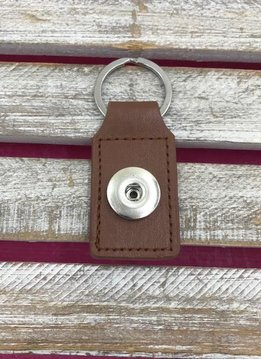 Brown Leather Snap Rectangle Keychain