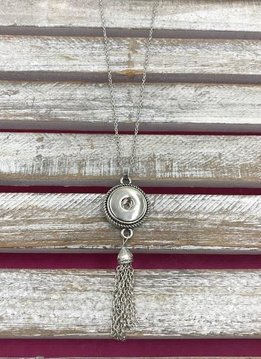 Silver Snap Necklace with Tassel Pendant