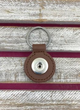 Brown Leather Snap Round Keychain