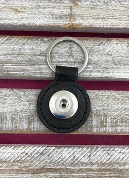 Black Leather Snap Round Keychain