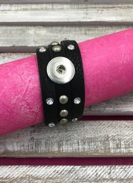 Black Leather Snap Bracelet with Rhinestones and Studs