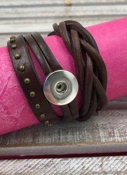 Brown Leather Snap Wrap Bracelet